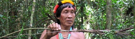 An indigenous healer of the Amazon rainforest gathering reagents for his work.